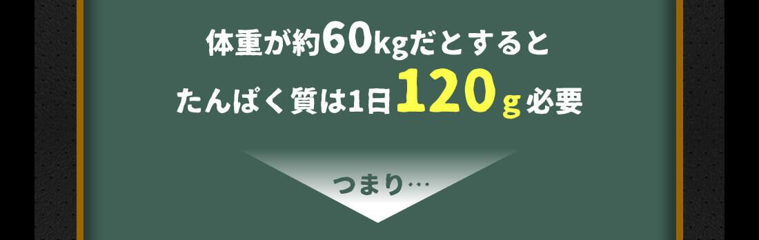 体重が約60kgだとするとタンパク質は1日120g必要